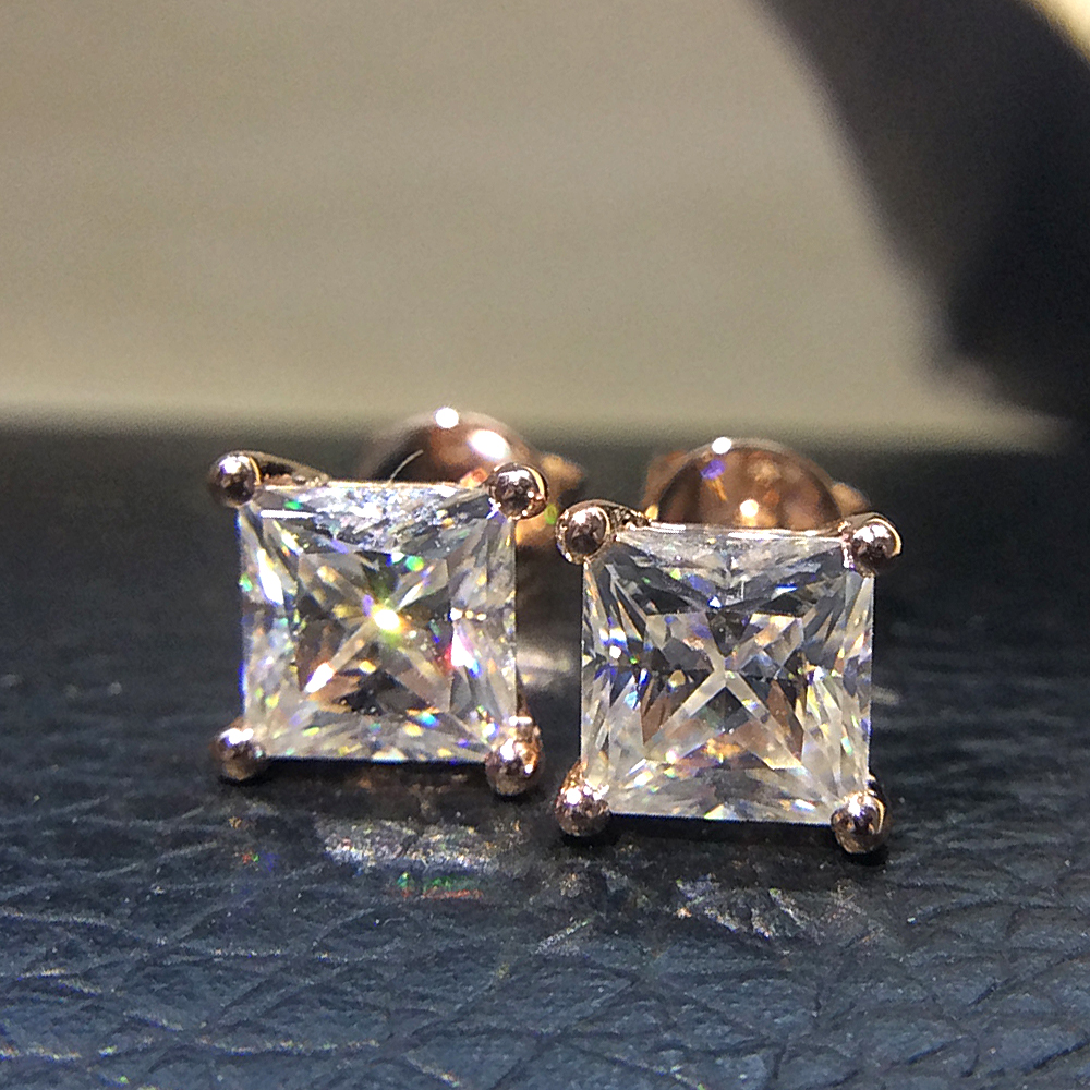 Genuine 14K 585 Rose Gold Screw Back 2.0Carat ctw Test Positive Princess Cut Moissanite Diamond Earrings For Women solid 14k white gold 1 carat ctw g h push back stud earrings test positive moissanite diamond for women