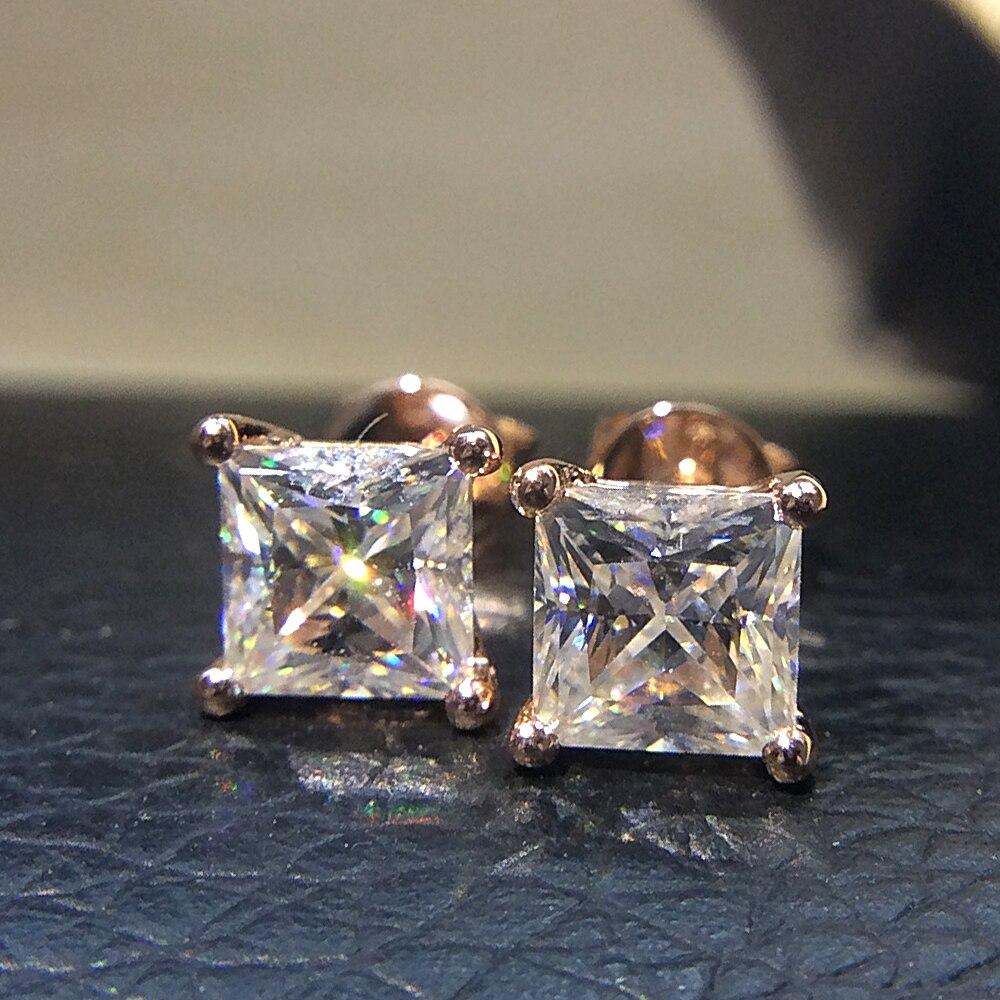Véritable 14 K 585 Or Rose Vis Retour 2.0 Carat ct Test Positif Princesse Cut Moissanite Diamant Boucles D'oreilles Pour Les Femmes