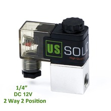 "U.S. Solid 1/4"" 2 Way 2 Position Pneumatic Electric Solenoid Valve DC 12 V Aluminum Alloy"