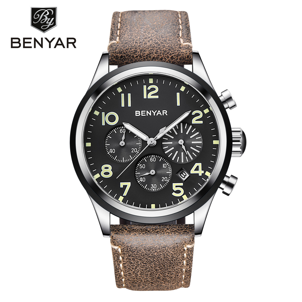 BENYAR 2018 Men Watches Top Brand Luxury Quartz Wristwatches Mens Chronograph Sport Watch Leather Waterproof Clock reloj hombre все цены