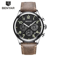 BENYAR 2018 Men Watches Top Brand Luxury Quartz Wristwatches Mens Chronograph Sport Watch Leather Waterproof Clock reloj hombre