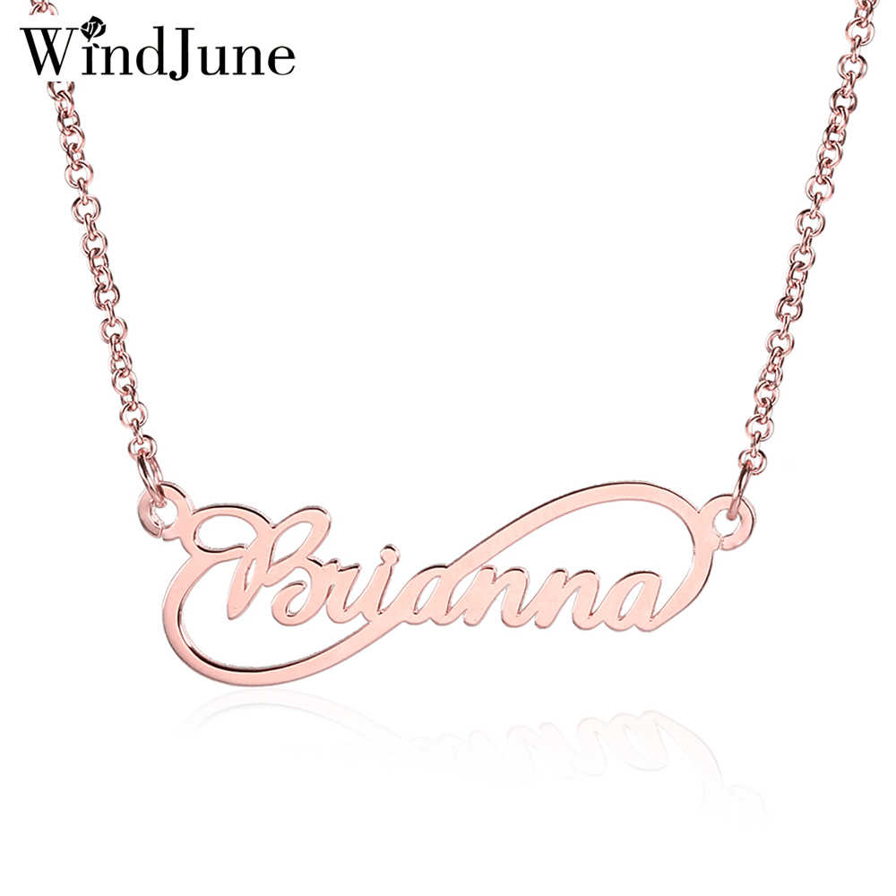 WindJune Custom Name Necklace Women Necklace & Pendant Stainless Steel Personalized NameNecklace Custom Jewelry Gift Wholesale
