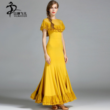 Unique Ruffled Collar Waltz Skirts Balck Ballroom Dance Competition Dresses Women Modern Waltz Tango Standard Costumes