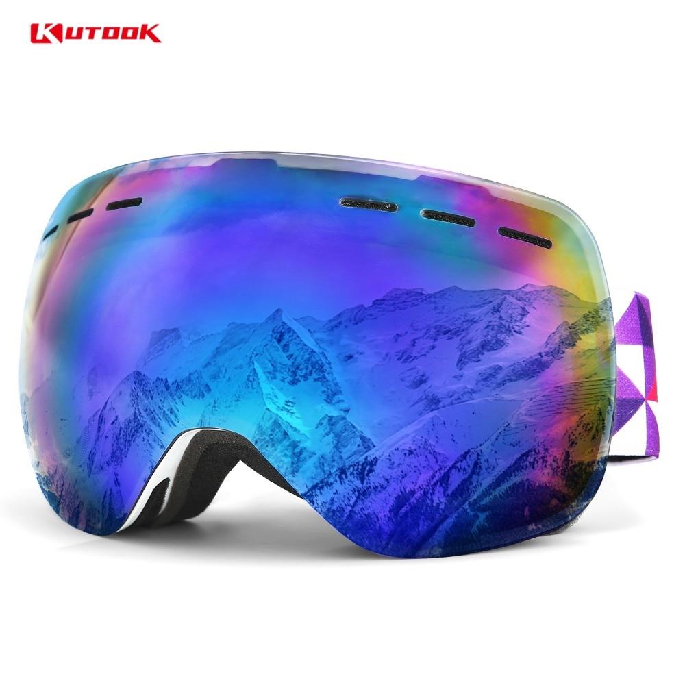 KUTOOK 2018 hiver Double lentille Snowboard lunettes Anti-buée lunettes de Ski avec étui neige lunettes coupe-vent équipement de Ski masque de Ski