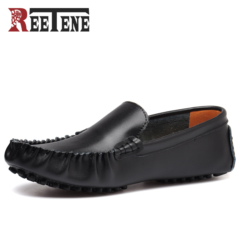 REETENE 2017 Summer Luxury Driving Breathable Genuine Leather Flats Loafers Men Shoes Casual Fashion Flats zapatos de hombre fashion nature leather men casual shoes light breathable flats shoes slip on walking driving loafers zapatos hombre