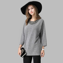 SpaRogerss Fashion Beading Women Sweaters 2016 Large Plus Size Lady 5XL Loose Pullovers Knit Female Sweater Big Woman 1601DDY