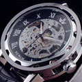 2016 Luxo Sewor Homens Relógio De Aço Engrenagem Caso Índice Roman Dial Pulseira de Couro de Esqueleto Da Mão-Vento Mecânica Casual Masculino relógio de pulso
