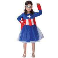 Lovely Kids Star Printed Superhero Dress Carnival Masquerade Party Brave Cosplay Clothing Girls Captain America Costume