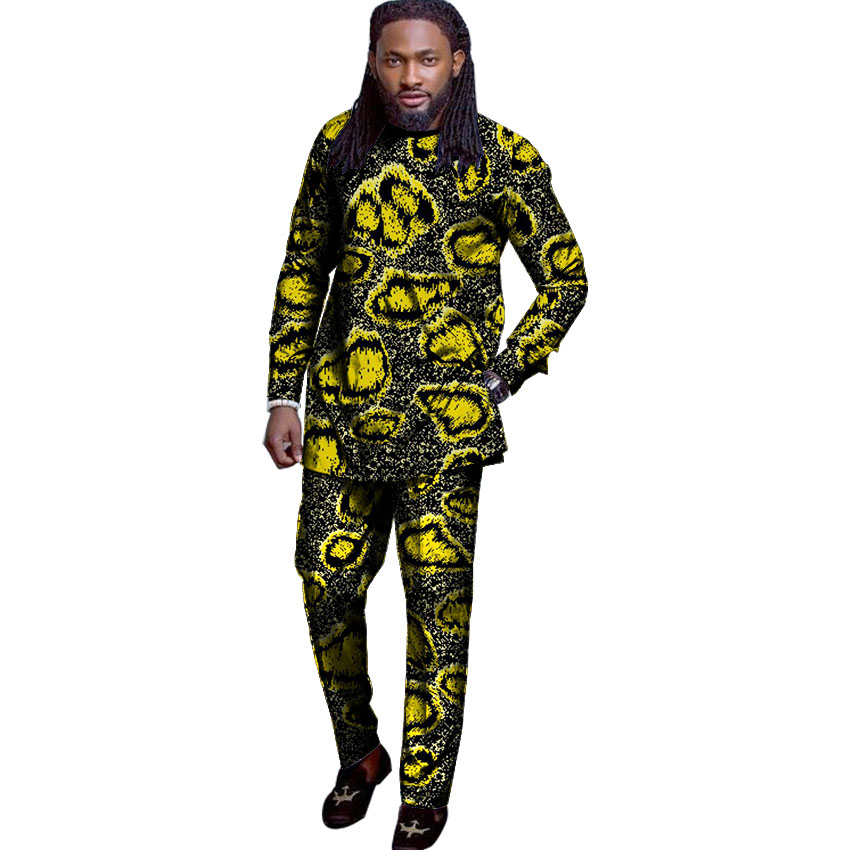 Fashion Man's Set New Design African Men Clothing Tops+Pants Sets Africa Style Print Male T-shirt And Pants Sets Customized