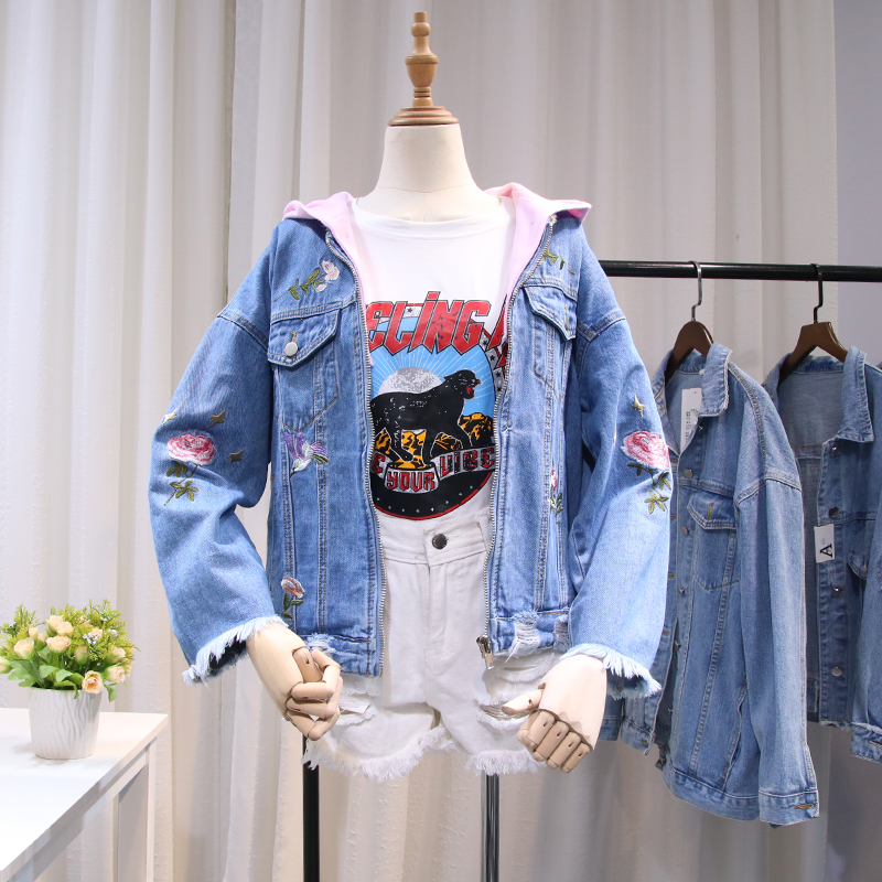 Spring Embroidery Rip Raw-edge Hooded Denim   Jacket   Women   Basic     Jacket   Long Sleeve Streetwear Girls   Jacket   Coat
