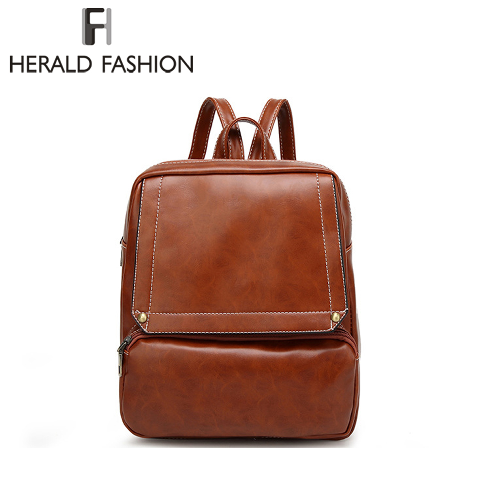 Herald Fashion Women Leather Backpacks For Teenage Girls Lady Pack Bags Female School Shoulder Bag Traveling Backpacks Mochila school bags for teenage girls canvas printing floral backpacks women high capacity female arcuate shoulder strap zipper bag pack