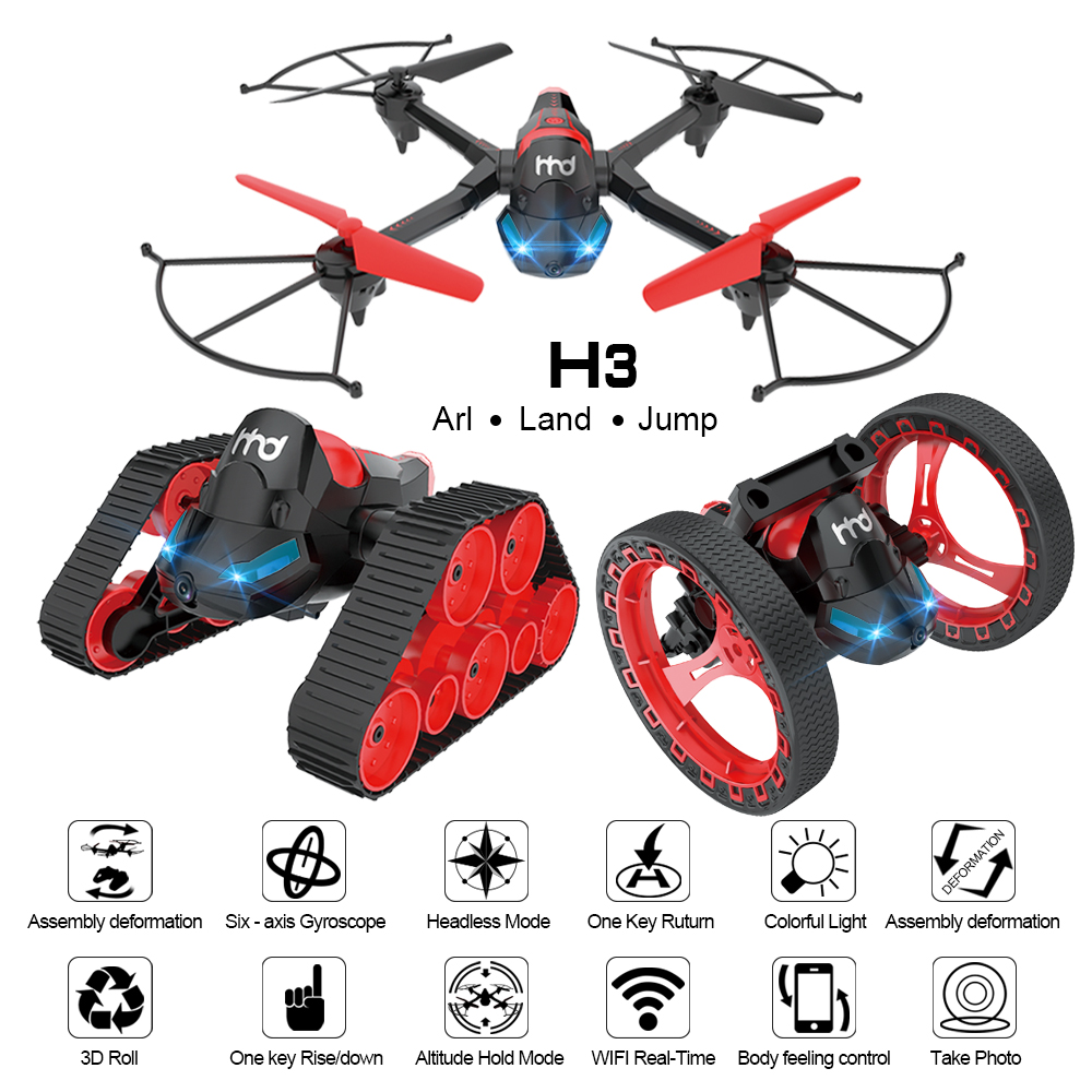 EBOYU H3 DIY RC Drone 2.4G 6-Axis w/Wifi FPV 0.3MP caméra Transformateur RC Quadcopter Drone RC Réservoir Saut Stunter RC Stunter