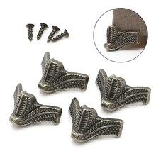 4x Vintage Jewelry Box Wooden Case Decorative Feet Leg Metal Corner Protector Brackets M12 dropship
