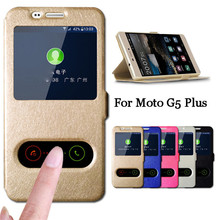 For Moto G 5 Plus Case 5.2 inch Quick View Window Flip Stand Cover Motorola G5 Capa Phone Cases Coque Funda Hoesje