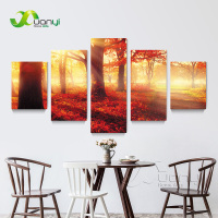 5 Panel Forest Tree Pictures Painting Canvas Prints Art Red Tree Painting Modern Home Wall Decor