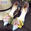 Цветок Женщины Туфли На Высоких Каблуках Острым Носом Бисером Сладкий Стиль Низком Каблуке Обувь Вырез Женская Обувь