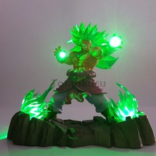 Dragon Ball Z Broly Super Saiyan Action Figures Led Head Lighting PVC Anime Goku Model Toy Figurine DBZ
