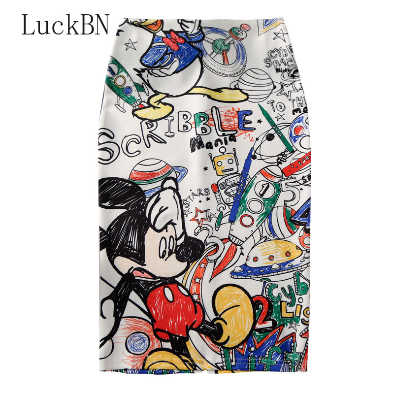 Vintage Women's Pencil Skirt 2019 New Cartoon Mouse Print High Waist Slim Skirts Young Girl Summer Large Size Japan Female Falda