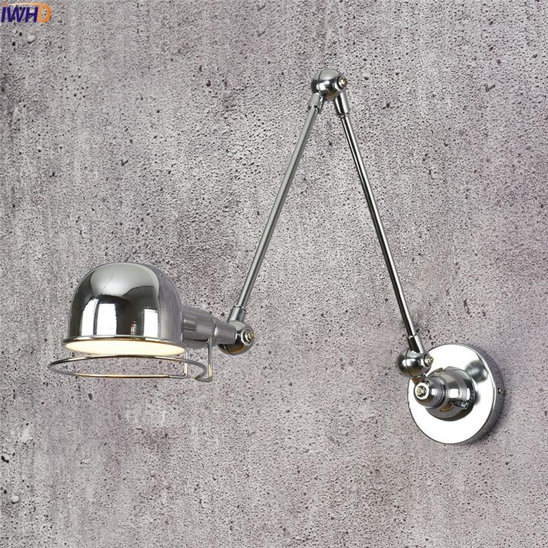 IWHD Wall Lamp Retro Edison LED Wall Light Fixtures Home Lighting Iron Adjustable Arm Wandlamp RH Retro Bathroom Light Luminaire