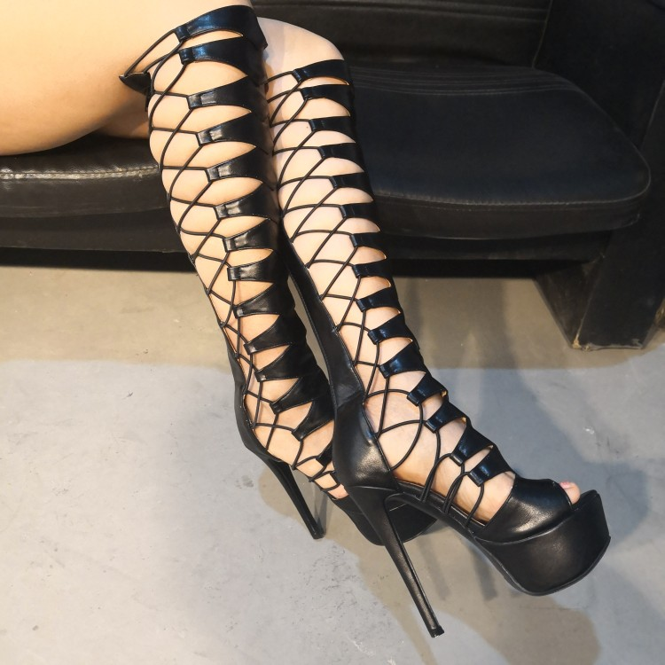 Sandalias Sexy Yifsion Mujer Nos Plus 5 De D1129 Tamaño Estilo Fiesta Peep Alto Plataforma Mujeres Tacón Black 15 Zapatos Toe Negro rOtIO