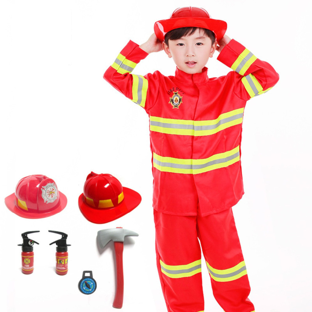 Umorden Kids Firefighter Cosplay Little Fireman Firemen Costume Uniform For Boy Child Halloween Carnival Party Costumes For Boys