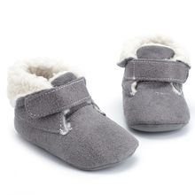 Pasgeboren Baby Meisjes Jongens Solid Warm Winter Eerste Walker Soft Sole Boot Schoenen(China)
