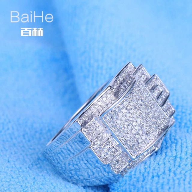 BAIHE Sterling Silver 925 0.7CT Certified 100% Genuine Natural Diamonds Flawless Engagement Men Trendy Fine Jewelry Ring