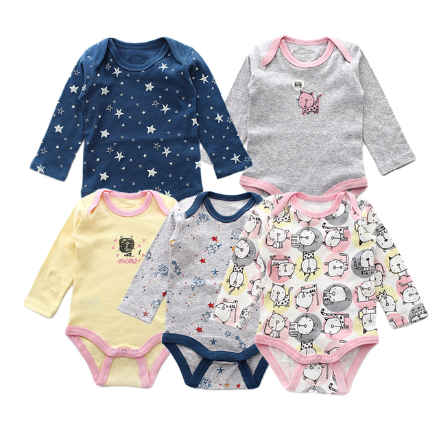 334261cff 5 Pieces/lot Baby Rompers Newborn Jumpsuits Baby Boy Clothes Cotton Long  Sleeve Girls Clothing Set Autumn Infant Romper