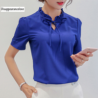 2017 Summer Chiffon Blouse Ruffled Collar Bow Neck Shirt Petal Short Sleeve Chiffon Tops Blusas Femininas