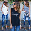 New Fashion Casual Women T Shirts Plus Size Sleeveless 2017 Summer Rock Punk Style Letter Loose