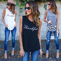 New Fashion Casual Women T-shirts Plus Size Sleeveless 2017 Summer Rock Punk Style Letter Loose Female T-shirt Black White Tops