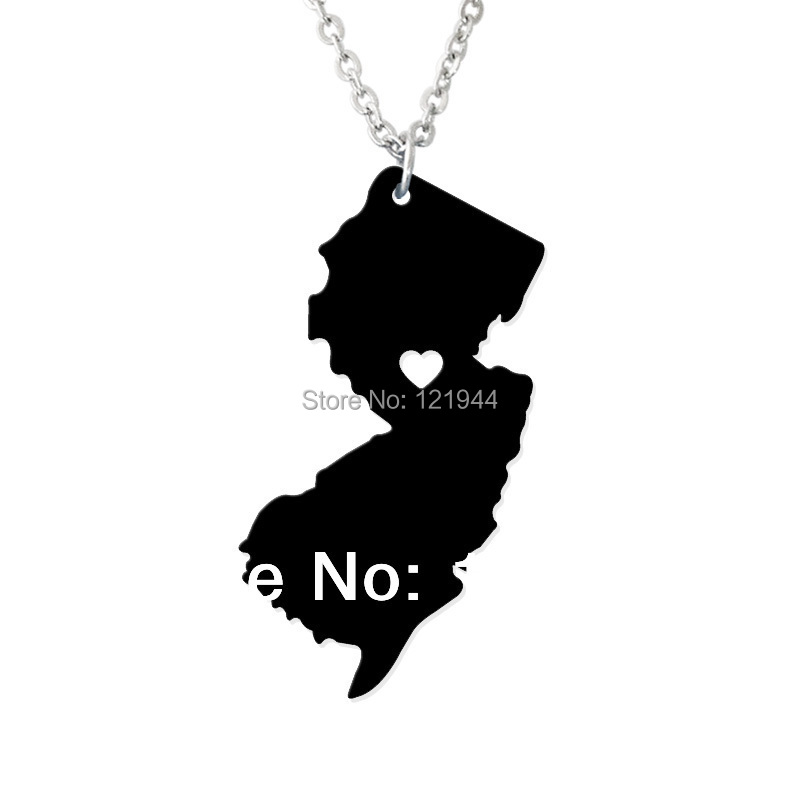 Love State Map Necklace - I heart New jersey - State Charm - NJ Map Heart necklace - Personalized jewelry