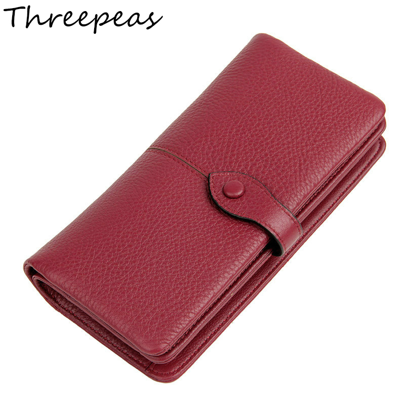 THREEPEAS Genuine Leather Long Fashion Women Wallets Designer Brand Clutch Purse Lady Party Wallet Female Card Holder nawo real genuine leather women wallets brand designer high quality 2017 coin card holder zipper long lady wallet purse clutch