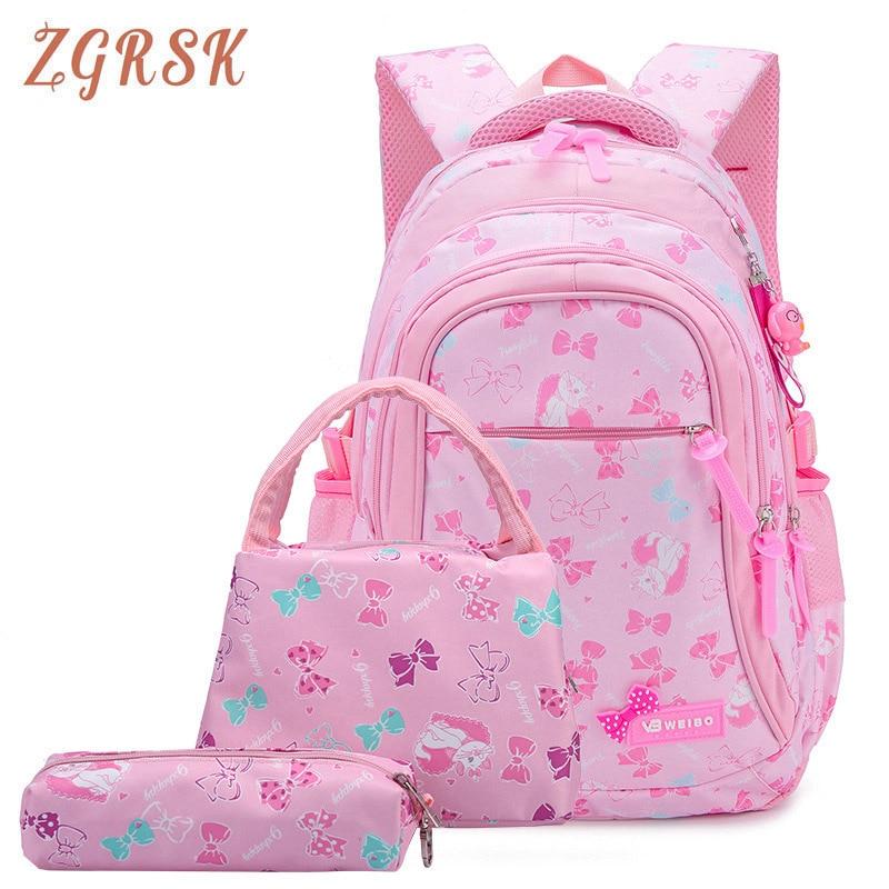 Child Bow Printing Children School Bags For Girls Princess School Backpack Kids Backpacks 3pcs/set Schoolbags Kid Back Packs