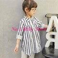 Новое поступление детская одежда, 100% хлопок ребенок полоса с длинными рукавами рубашки, Бесплатная доставка девушки рубашка