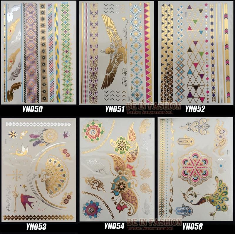 Временная татуировка, нетоксична, 6 Дизайнов/набор, новые металлические, золотые, серебряные, цветные, для боди-арта