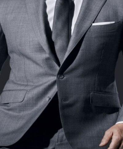 ที่กำหนดเองชายชุดสีเทาอ่อนชุดธุรกิจอย่างเป็นทางการเทเลอร์ทำเสื้อทักซิโด2ชิ้นสลิมฟิตTerno Masculino (เสื้อ+กางเกง)-ใน สูท จาก เสื้อผ้าผู้ชาย บน   2
