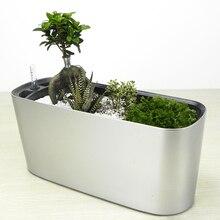 KEYBOX Automatic Watering Flowerpot Lazy Water Top Plastic Paint Bonsai Rectangular Balcony Desktop Indoor Plants