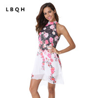 LBQH New Ladies Fashion Sexy Summer Sleeveless Hanging Neck Brand Dress High Quality Printing Chiffon Inside