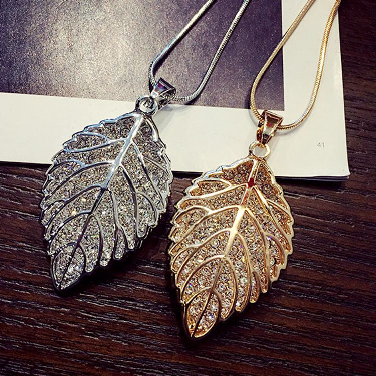 Fashion long section leaf sweater chain necklace Fine jewelry Crystals from Swarovski female OpaL hanging chain jewelryFashion long section leaf sweater chain necklace Fine jewelry Crystals from Swarovski female OpaL hanging chain jewelry