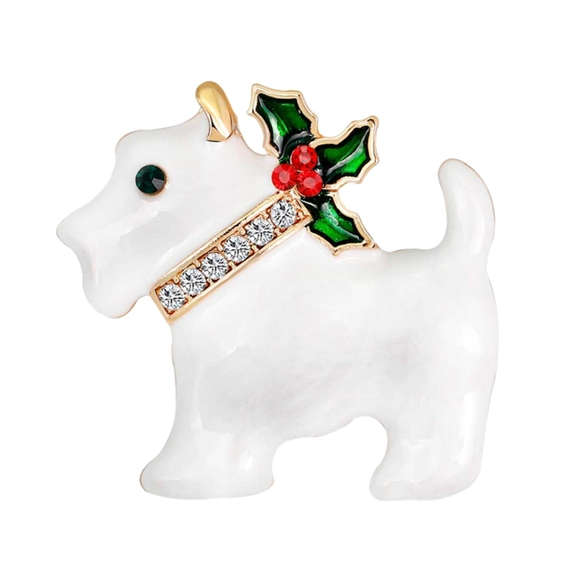 Christmas Dog Rhinestone Brooch Pin For Women Ladies Girls Jewellery Decor Xmas Gifts