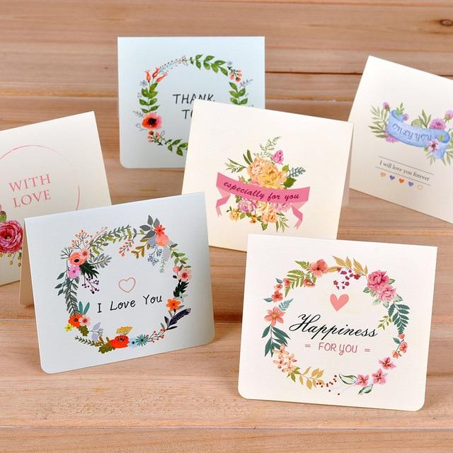 6 Pc Lot Creative Fleur Universel Carte De Voeux Mini Vacances