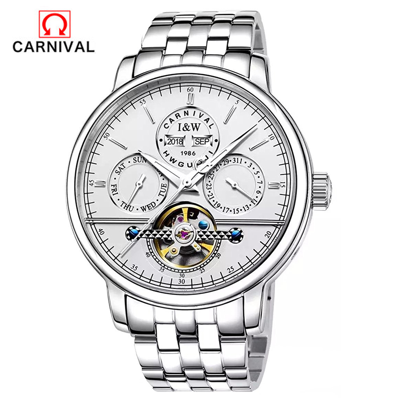 Carnival men Watches tourbillon automatic mechanical business casual fashion stainless steel waterproof luminous male watch 2016 holuns watches men automatic mechanical watch hollow steel men s fashion business waterproof watch male table tourbillon