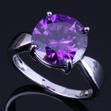 Outstanding Round Purple Cubic Zirconia 925 Sterling Silver Ring For Women V0440