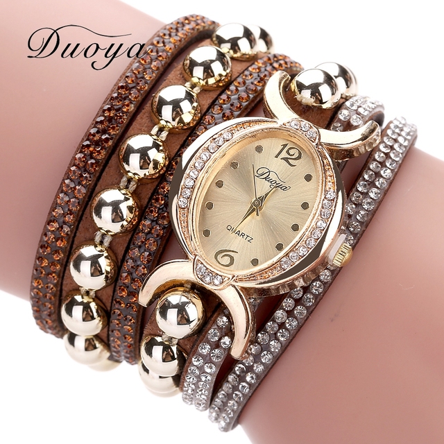 Duoya Luxury Brand Women Gold Rhinestone Leather Wrist Ladies Quartz-Watch Casual Pearl Vintage Bracelet Watches Dropshipping