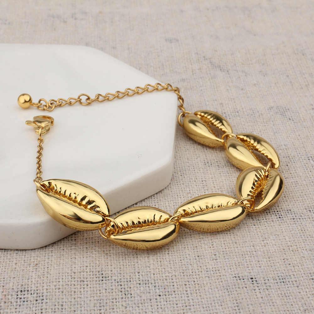 FINE4U B166 czechy morze powłoki Charms bransoletka złoty kolor regulowana bransoletka 2019 Trendy lato plaża biżuteria