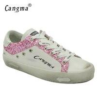 CANGMA Super Star Kobiet Obuwie Białe Trampki Prawdziwej Skóry Przypadkowi Buty Dla Kobiety Handmade Różowy Brokat Mieszkania Duży Rozmiar