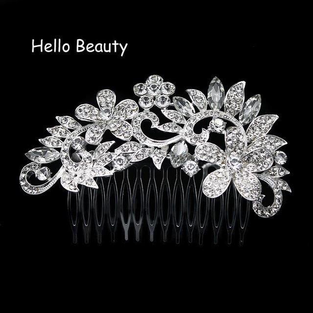 Silver Color Crystal Rhinestone Flower Wedding Hair Comb Bride Headpiece Accessories Jewelry Bridal