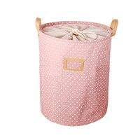 35*45CM Foldable Cotton & Linen Storage Bucket Washing Clothes Laundry Storage Basket With Handles Kids Toys Storage Basket