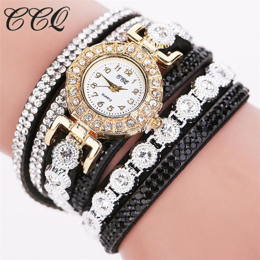 Ccq 2018 Watch Women Bracelet Ladies Watch With Rhinestones Clock Womens Vintage Fashion Dress Wristwatch Relogio Feminino Gift ccq brand fashion vintage cow leather bracelet roma watch women wristwatch casual luxury quartz watch relogio feminino gift 1810